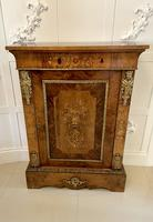 Outstanding Quality Antique Victorian Burr Walnut Floral Marquetry Inlaid Side Cabinet