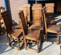 1960's Oak Refectory Table with Set 8 Jacobean style Oak Highback Dining Chairs (4 of 7)