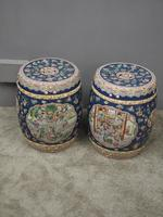 Pair of Chinese Qing Dynasty Painted Barrels / Seats (4 of 17)