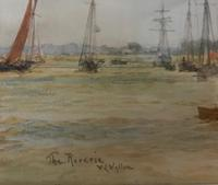 A fine marine watercolour by W.L.Wyllie RA 'The sailing yacht Reverie on the river Hamble' (2 of 2)