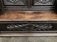Antique English Carved Oak Hall Bench Settle (2 of 10)