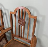 Unusual Pair of Edwardian Oak Carver Chairs by JAS. Shoolbred (3 of 8)