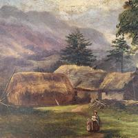 Antique large Scottish landscape oil painting of cottages in Trossachs signed Walter W Banner 1880 (8 of 11)