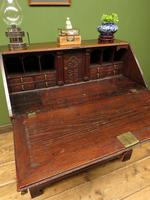 Antique Carved Oak Writing Bureau Desk with Fall Front, Handsome Gothic Piece (20 of 24)