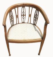 Edwardian Mahogany & Inlaid Tub Chair (3 of 5)