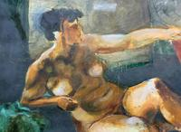20th Century British School Reclining Nude Female Portrait - Watercolour & Body Wash (6 of 12)