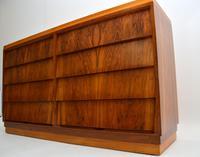 1950's Vintage Walnut & Satin Birch Chest of Drawers (9 of 11)