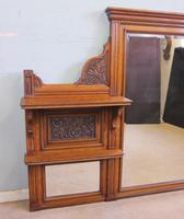 Antique Large Victorian Oak Overmantle Wall Mirror (2 of 9)