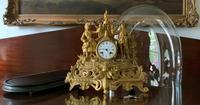Large Superb Original 19th Century Glass Domed Gilt Mantle Clock For Minor Tlc (10 of 14)