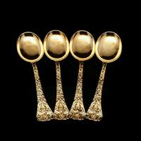 Antique Set of 4 Solid Silver Gilt Spoons with Highly Embossed Design - Henry William Curry 1871 (3 of 14)