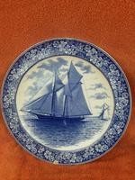 """1901 Wedgwood Etruria Queensware """"The Intrepid"""" Boat Plate (6 of 10)"""