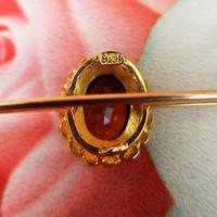 Edwardian 9ct Gold Citrine & Pearl Cluster Bar Brooch (4 of 6)