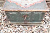 Scandinavian / Swedish 'Folk Art' Baroque Style Blue-Green Original Painted Table Box Late 18th Century (7 of 35)