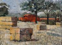 Lovely Original 20th Century Vintage Impressionist Harvest Haystack Landscape Painting (5 of 12)
