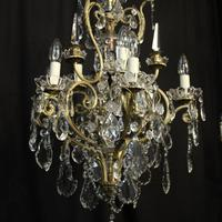 French Gilded & Crystal 10 Light Birdcage Antique Chandelier (8 of 10)