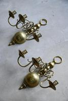 Pair of Dutch Style Brass 3 Branch Wall Candle Sconce (13 of 13)