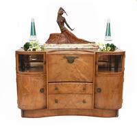 Art Deco Drinks Cabinet Walnut Vintage 1930s (2 of 16)