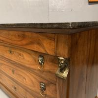 French Cherry & Marble Top Commode Chest of Drawers (8 of 8)