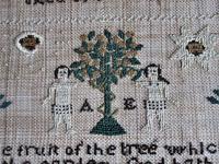 George IV English Adam & Eve Silk on Linen Needlework Sampler, 1825 in Original Frame (2 of 9)