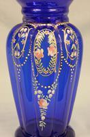 Antique Bristol Blue Glass Decorated Vase (4 of 7)