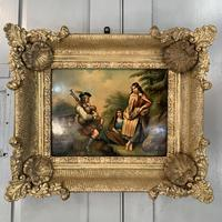 Antique Georgian oil painting on tin of piper playing to two ladies (8 of 12)