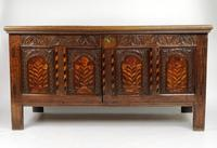 Decorative 17th Century Converted Inlaid Oak Coffer (5 of 7)