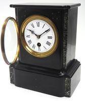 Antique French Slate & Marble Mantel Clock 8 Day Mantle Clock (5 of 9)