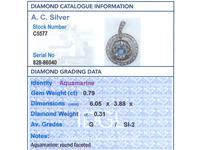 0.79ct Aquamarine, 0.31ct Diamond & 9ct Yellow Gold Necklace - Antique c.1910 (7 of 9)