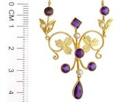 1.45ct Amethyst & Seed Pearl, 15ct Yellow Gold Necklace - Antique c.1880 (6 of 9)