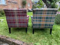 Pair of French Upholstered Armchairs in Tartan (5 of 6)