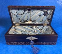 William IV Rosewood Glove Box with Superb Stickware & Tunbridge Ware Inlay (8 of 12)