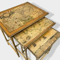 Italian Painted Nest of Tables with Map Prints (5 of 10)