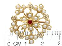 Ruby & Seed Pearl, 15ct Yellow Gold Pendant / Brooch - Antique c.1920 (10 of 14)