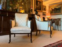 Exceptional Pair of Mahogany Inlaid Linen Silk Upholstered Bergere Armchairs (12 of 12)
