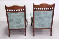 Pair of Victorian Carved Oak 'His & Hers' Easy Chairs (5 of 6)