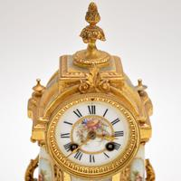 Antique French Porcelain & Gilt Mantel Clock Set (7 of 12)
