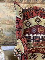 Kilim Covered Wingback Armchair on Ball & Claw Feet (3 of 9)