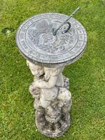 Large' Victorian Style' 3 Cherubs Stone Sundial Fairy Brass Top Timepiece (3 of 29)