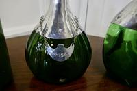 Set of 3 French Green Glass and Pewter Spirit Decanters (2 of 8)