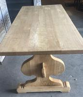 Large French Bleached Oak Trestle Farmhouse Dining Table (7 of 14)