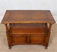 Oak Monks Bench Settle Carved Folding Hall Arts & Crafts (4 of 12)