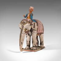 Antique Decorative Elephant and Rider, Indian, Hand Painted, Figure, Victorian (6 of 12)
