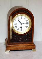 Edwardian Oak Arch Top Mantel Clock (4 of 12)