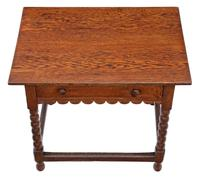 Georgian and Later Oak Writing Side Occasional Table with Drawer c.1800 (2 of 9)