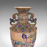 Pair Of Tall Antique Satsuma Vases, Japanese, Ceramic, Decorative, Moriage, 1900 (7 of 12)