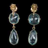 Antique Edwardian Blue Paste Earrings 9ct Gold Screw Backs c.1905 (4 of 5)