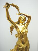 Incredible Art Nouveau Dancing Figural Mantel Clock Set 8 Day Striking Mantle Clock  with Side Lamps (9 of 15)