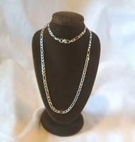 """Vintage Silver Necklace 1970s Figaro Link 925 Solid Silver 19"""" Length (3 of 11)"""