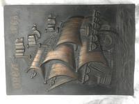 Antique Art Nouveau Marine Bronze Relief Wall Plaque Spanish Galleon Ship 1668 (15 of 21)