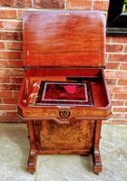 Antique Victorian Inlaid Burr Walnut Davenport Writing Desk (5 of 12)